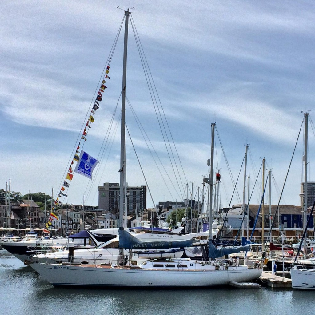 Helen Mary R berthed in Sutton Harbour marina