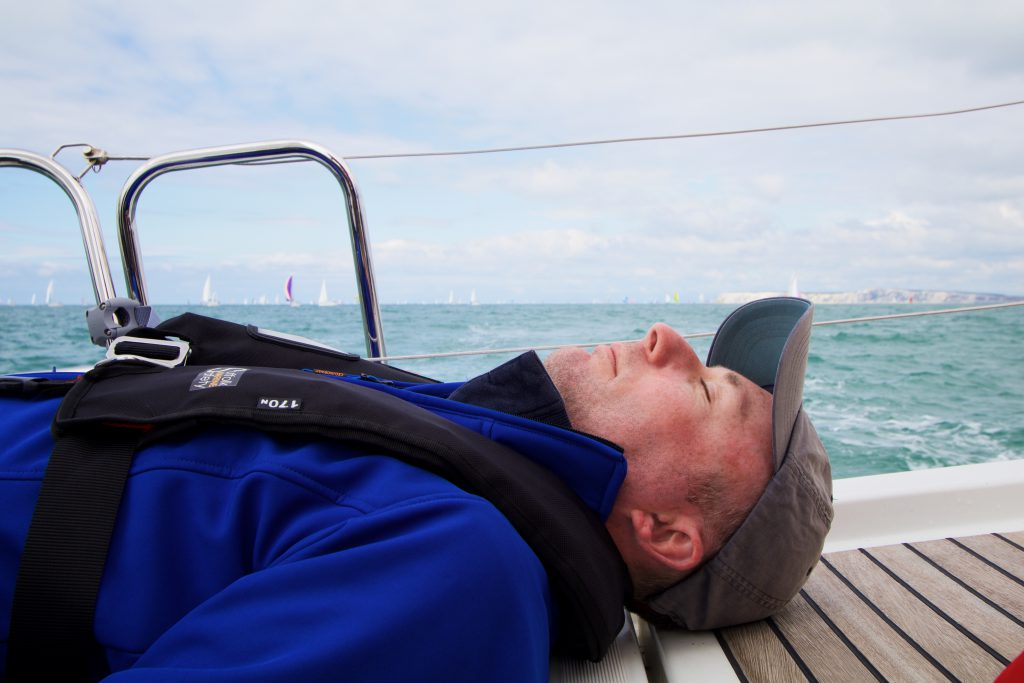 bob snoozing during the round the island race