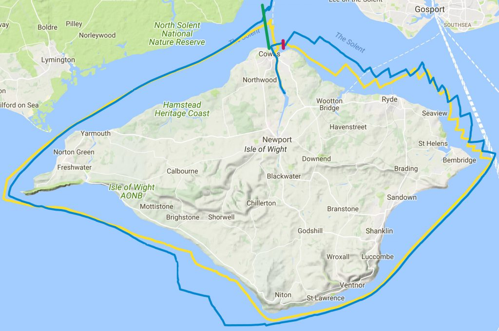 navionics race track for our round the island race